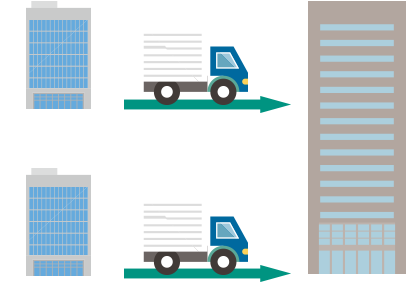 人事関連書類を本社で一元管理。各事業所からの原本移送が発生し、輸送リードタイムも長く、紛失リスクが常に付きまとう。